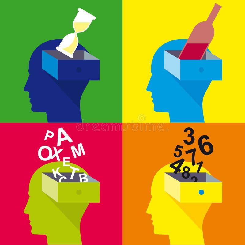 Abra a la cabeza, cabeza del hombre, diseño plano stock de ilustración