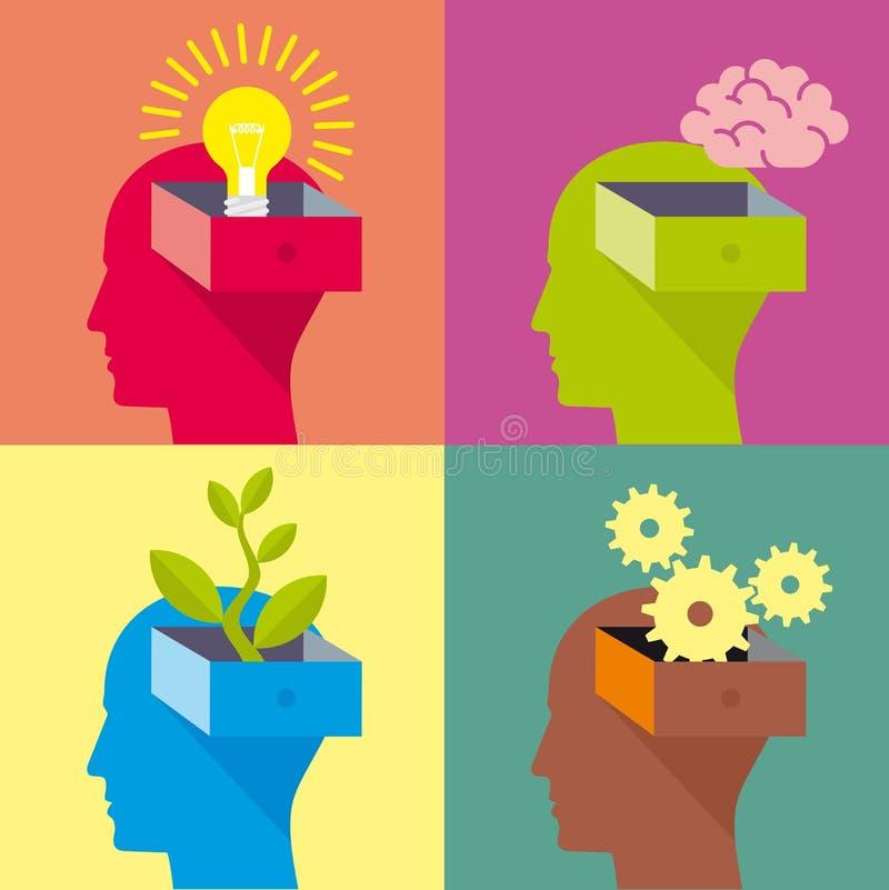 Abra a la cabeza, cabeza del hombre, diseño plano libre illustration