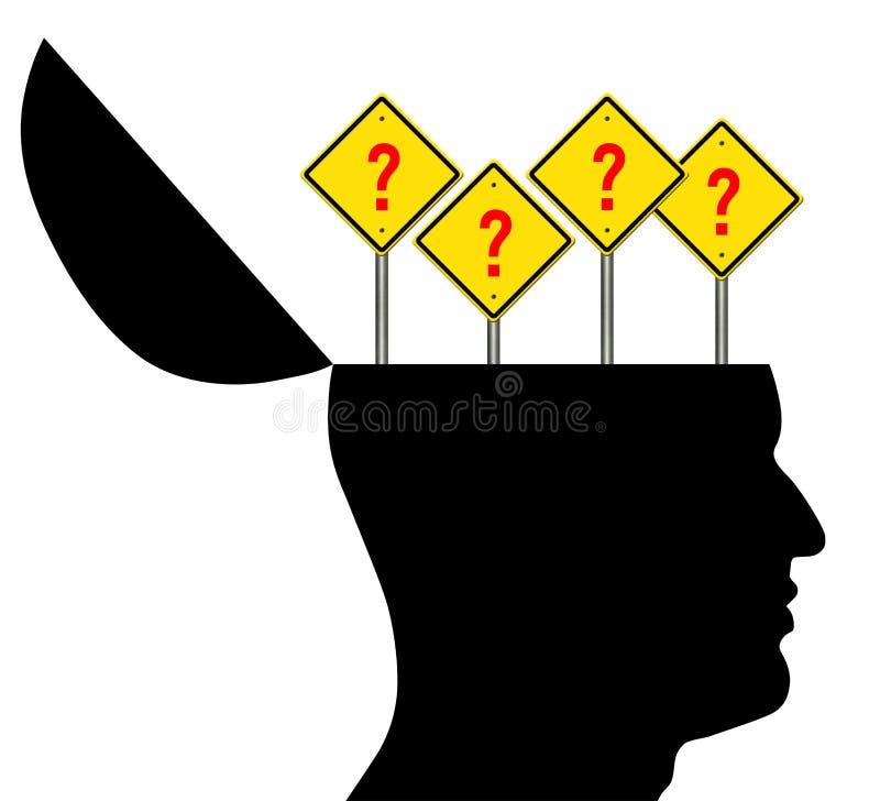 Abra la cabeza con las muestras del signo de interrogación ilustración del vector