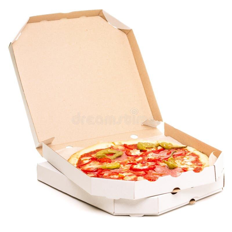 Abra la caja con la pizza imagen de archivo