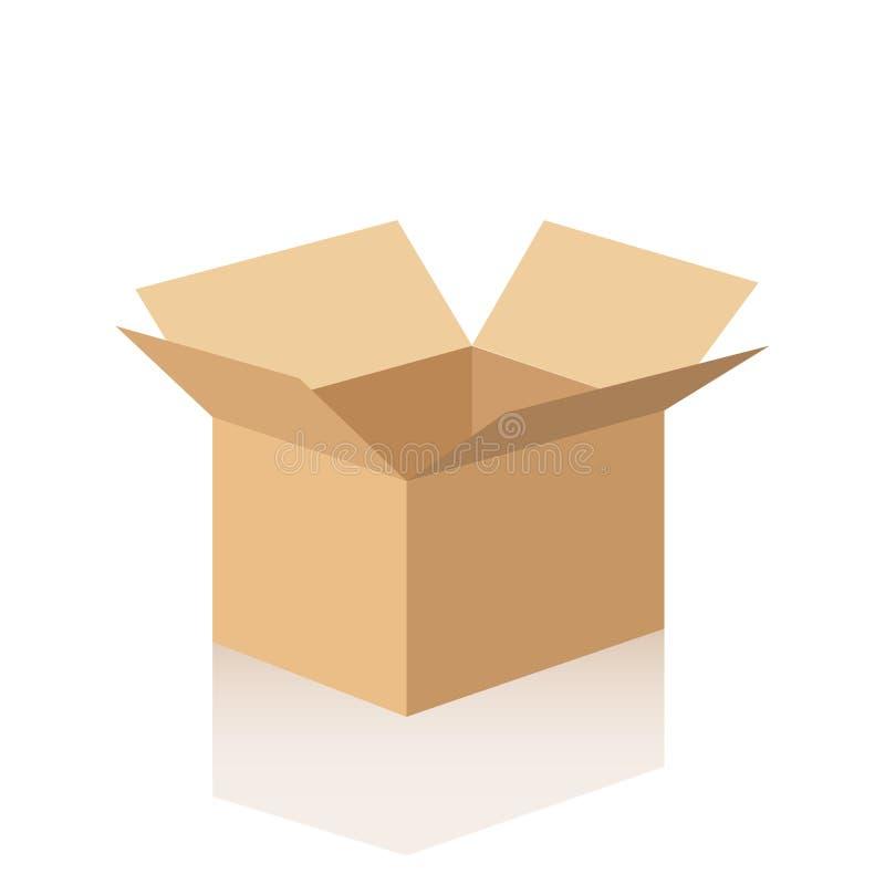 Abra la caja de cartón con la reflexión Ilustración del vector en el fondo blanco libre illustration