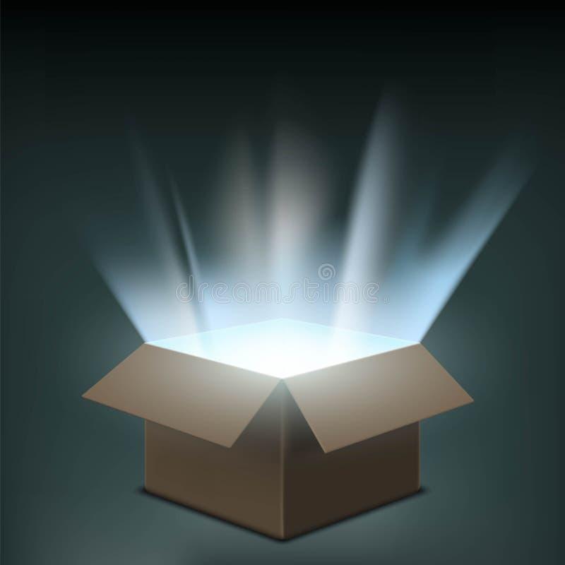 Abra la caja de cartón con un resplandor dentro Ilustración común libre illustration