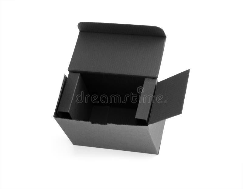 Abra la caja de cartón negra foto de archivo