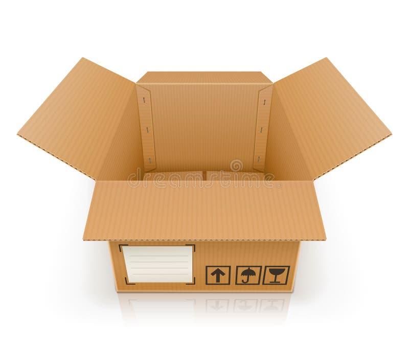 Abra la caja de cartón vacía stock de ilustración