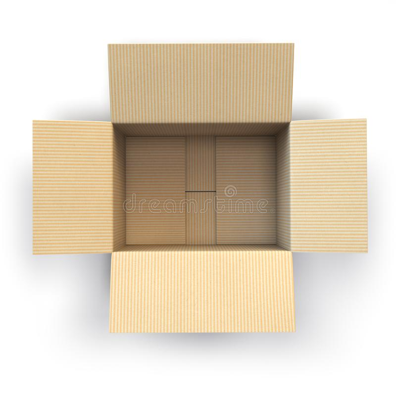 Abra la caja de cartón vacía aislada en el fondo blanco libre illustration