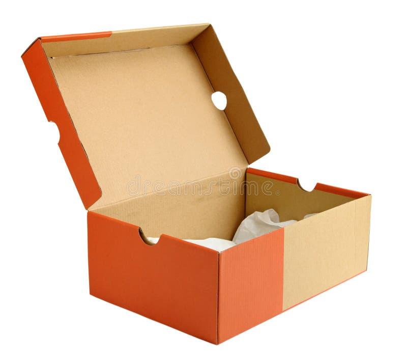 Abra la caja de cartón vacía del zapato imagen de archivo libre de regalías