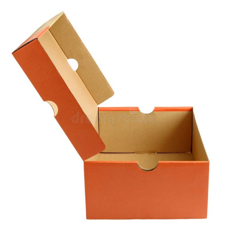Abra la caja de cartón vacía del zapato fotos de archivo