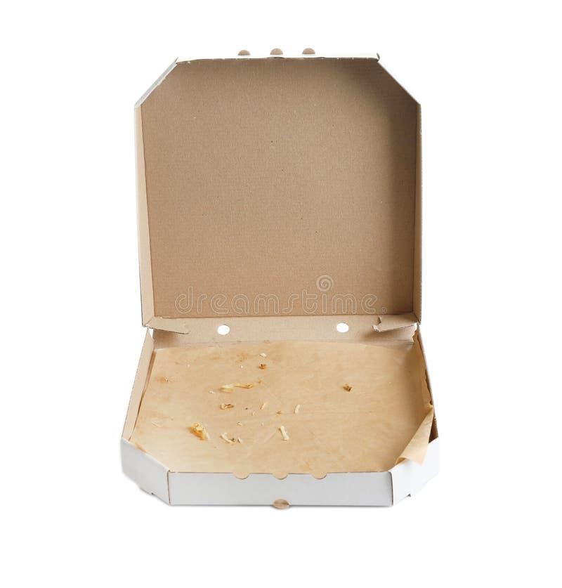 Abra la caja de la pizza de la cartulina, aislada en blanco fotos de archivo