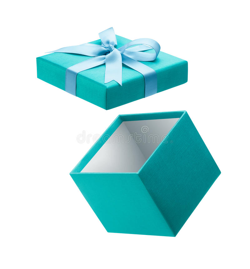Abra la caja de regalo aislada en blanco imagen de archivo libre de regalías