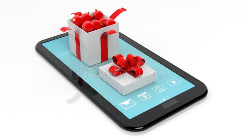 Abra la caja de regalo por completo de bolas de la Navidad en la pantalla de la tableta ilustración del vector