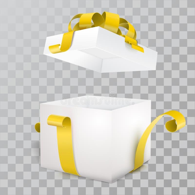 Abra la caja de regalo y con el arco y la cinta amarillos stock de ilustración