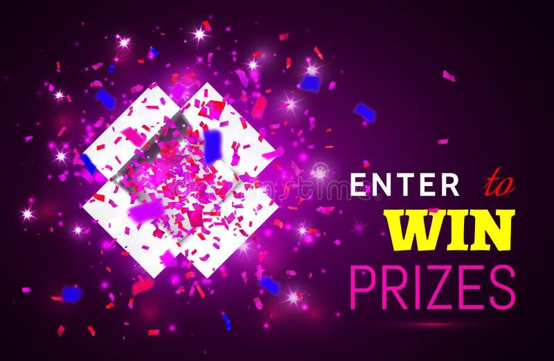 Abra la caja de regalo y el confeti en fondo rosado Entre para ganar premios Ilustración del vector libre illustration