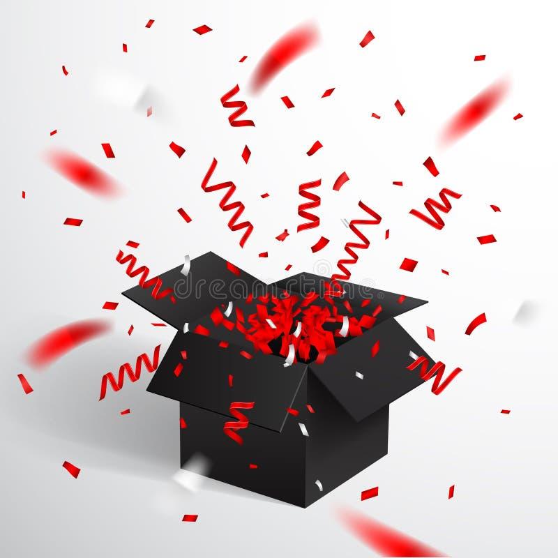 Abra la caja de regalo y el confeti negros La Navidad y Valentine Background Ilustración del vector ilustración del vector
