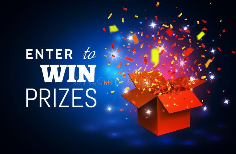 Abra la caja de regalo y el confeti rojos en fondo azul Entre para ganar premios Ilustración del vector libre illustration