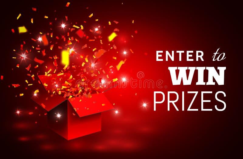 Abra la caja de regalo y el confeti rojos Entre para ganar premios Ilustración del vector ilustración del vector