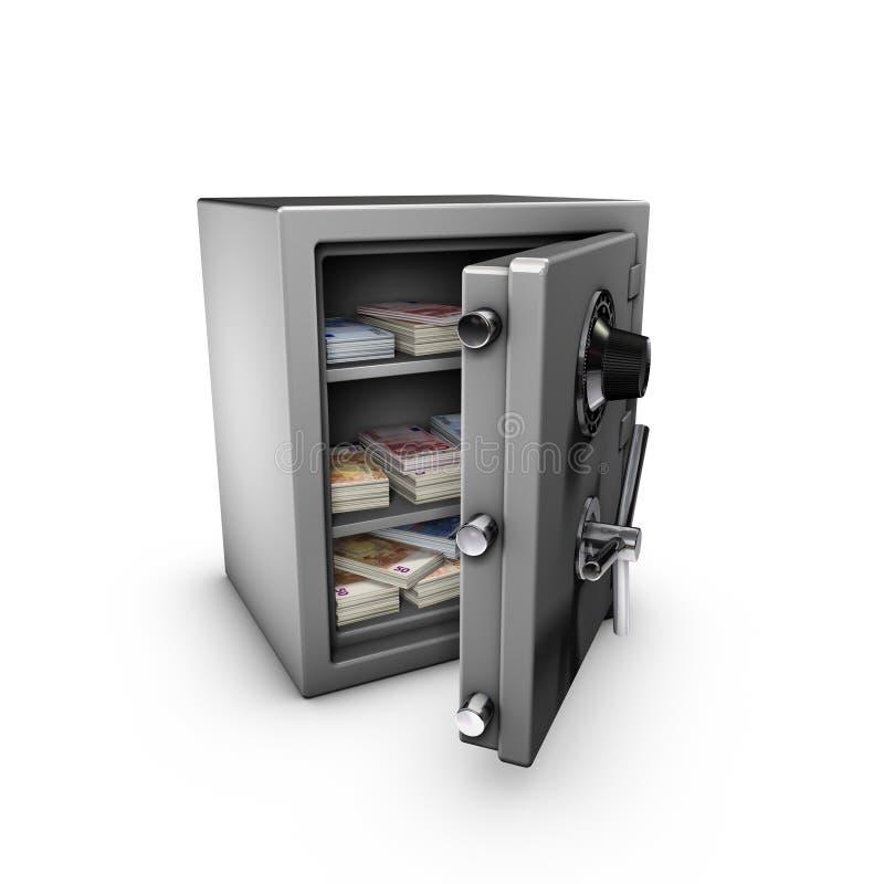 Abra la caja fuerte con las notas euro adentro ilustración del vector