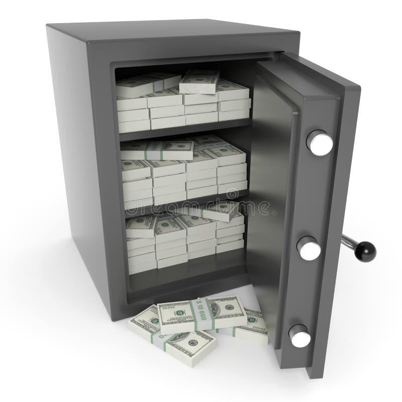 Abra la caja fuerte de la batería con los dólares adentro. stock de ilustración