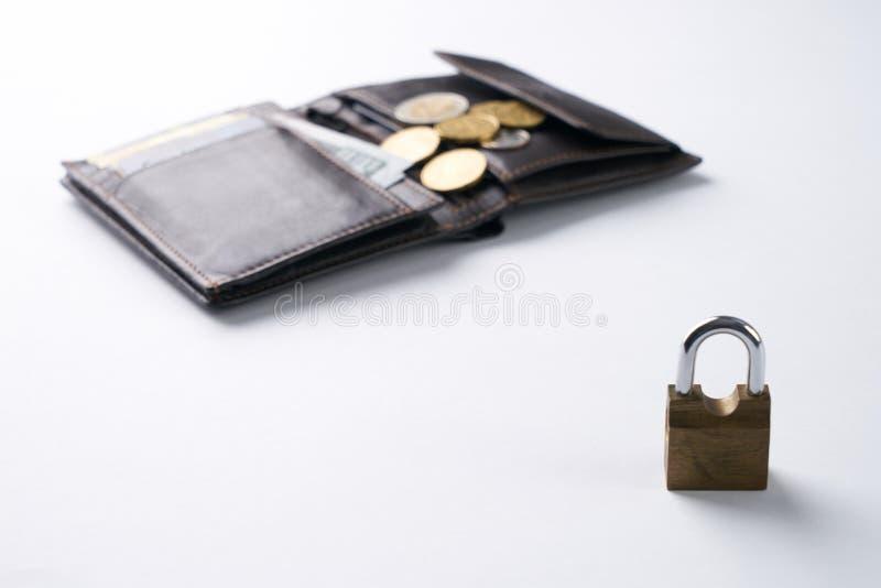 Abra la cartera de cuero marrón con el efectivo del dólar, monedas, tarjetas del debe-haber foto de archivo