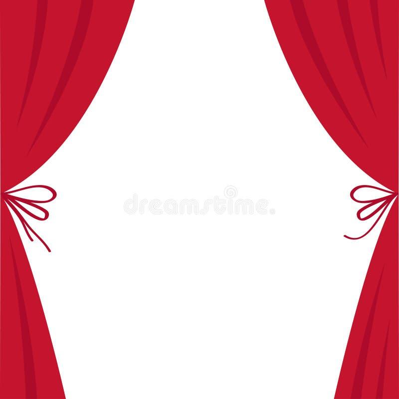Abra la cortina de seda roja de lujo del teatro de la etapa Cortinas del escarlata del terciopelo con el arco Diseño plano libre illustration