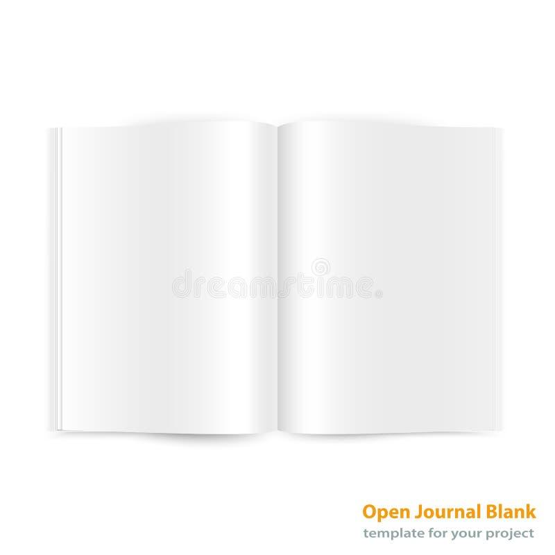 Abra la extensión a doble página de la revista con las páginas en blanco stock de ilustración