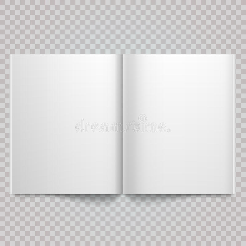 Abra la extensión a doble página de la revista con las páginas en blanco Extensión en blanco blanca aislada de la revista del vec libre illustration