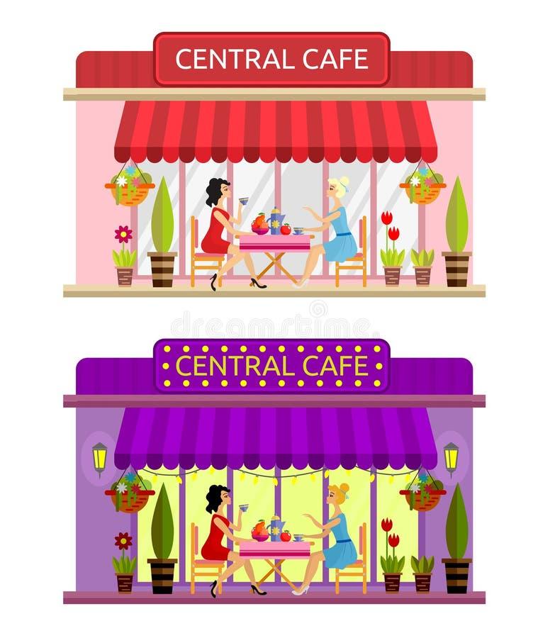 Abra la fachada del edificio del café Vector plano stock de ilustración