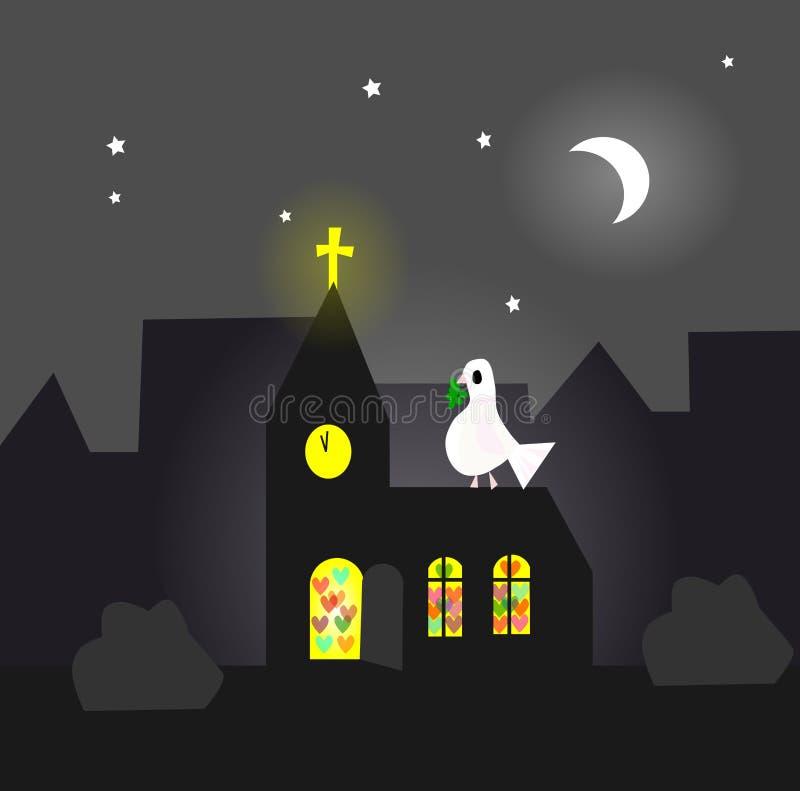Abra la iglesia, comunidad cariñosa, stock de ilustración