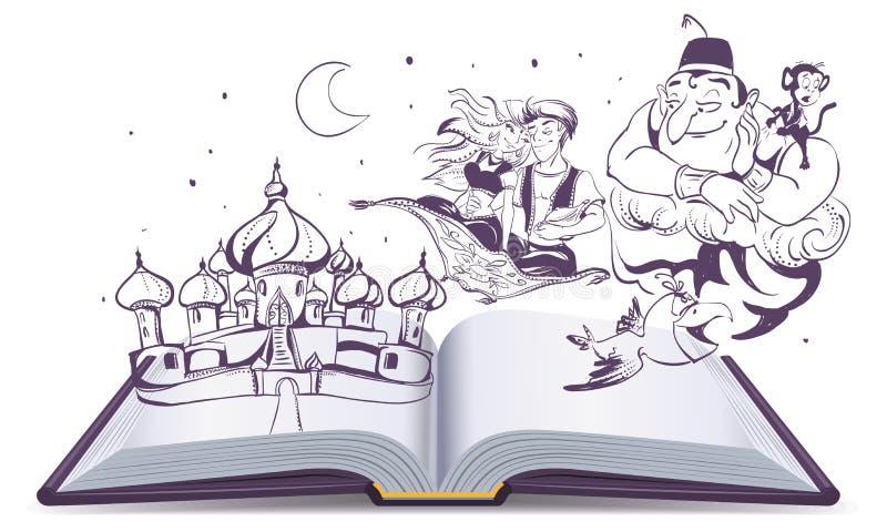Abra la lámpara mágica Aladdin del cuento de la historia del libro Cuentos árabes Alladin, genios y princesa ilustración del vector