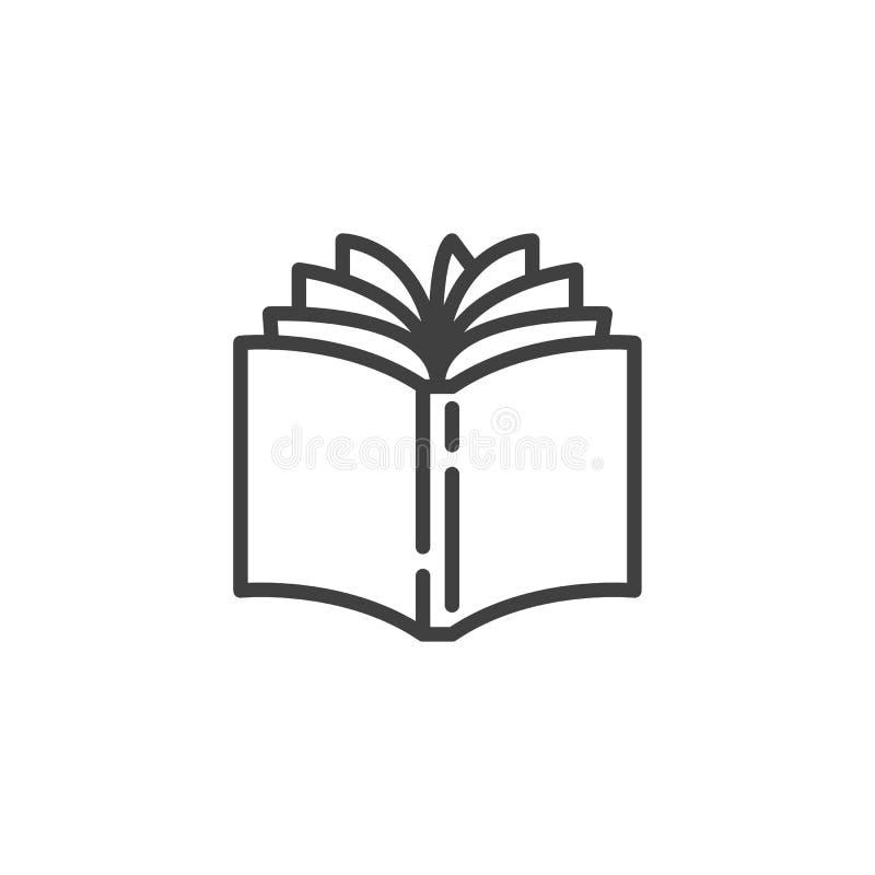 Abra la l?nea icono del libro ilustración del vector