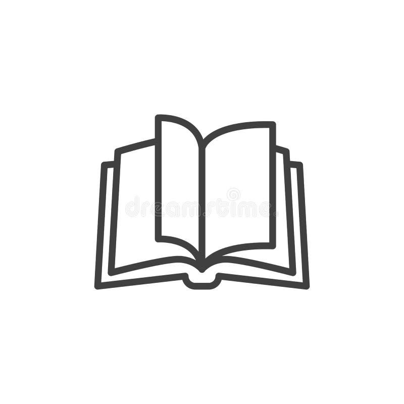 Abra la l?nea icono del libro stock de ilustración
