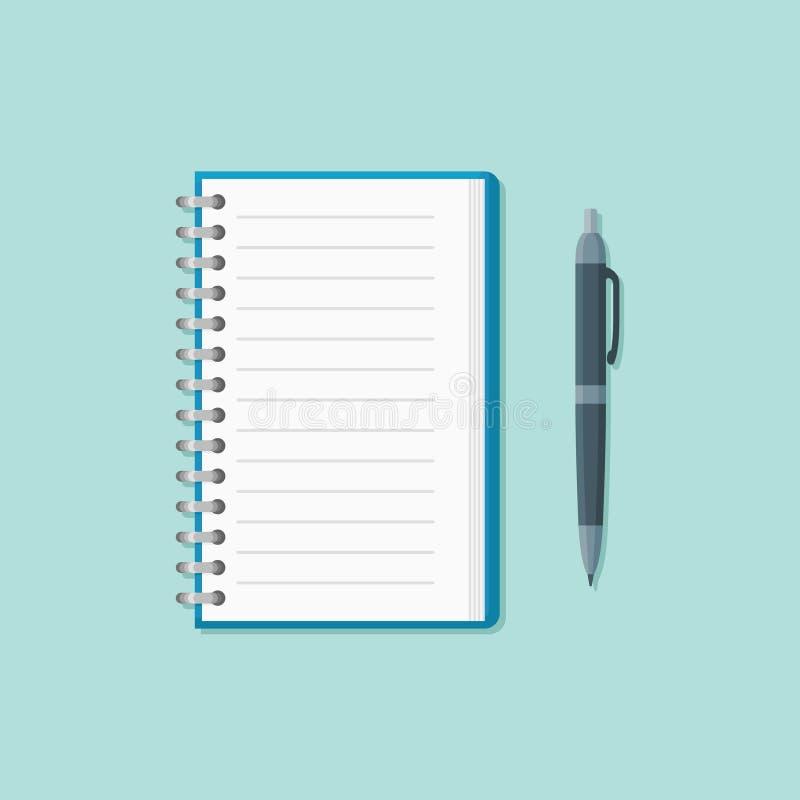 Abra la libreta con el icono plano del estilo de la pluma Ilustración del vector stock de ilustración