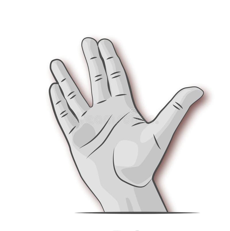 Abra la mano con los fingeres separados ilustración del vector