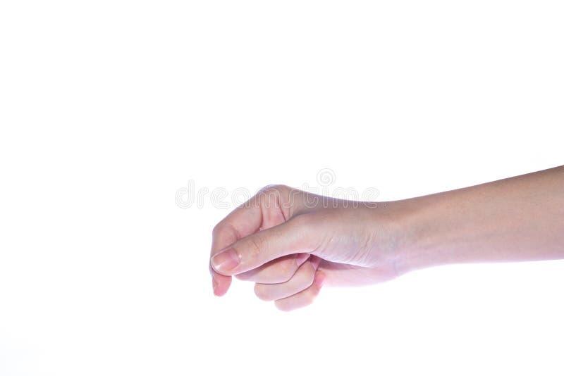 Abra la mano de la mujer en el fondo blanco imagen de archivo