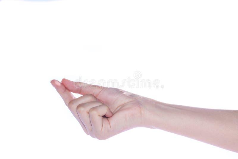 Abra la mano de la mujer en el fondo blanco fotos de archivo