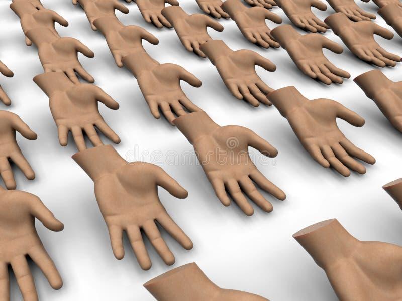 Abra la mano que pide concepto ilustración del vector