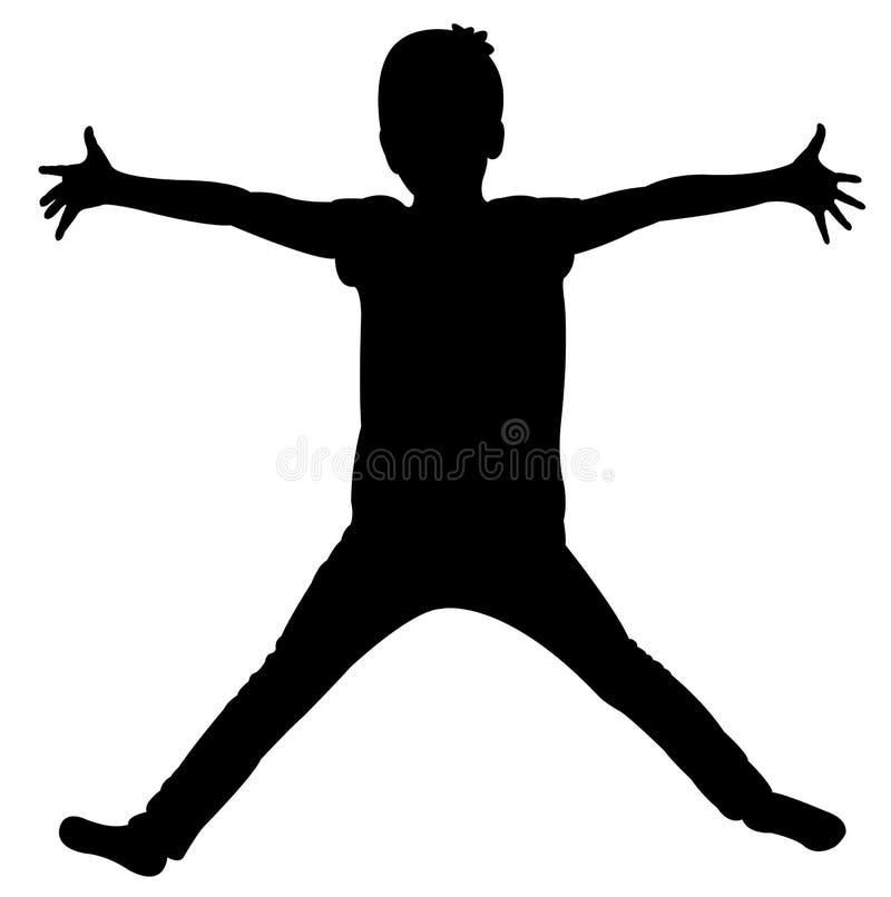 Abra la mano, vector de la silueta del cuerpo del niño ilustración del vector