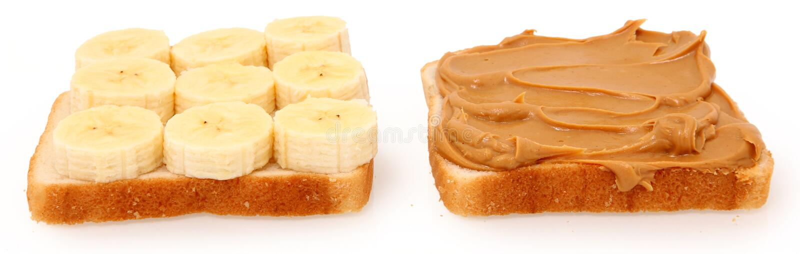 Abra la mantequilla de cacahuete y el emparedado del plátano fotos de archivo