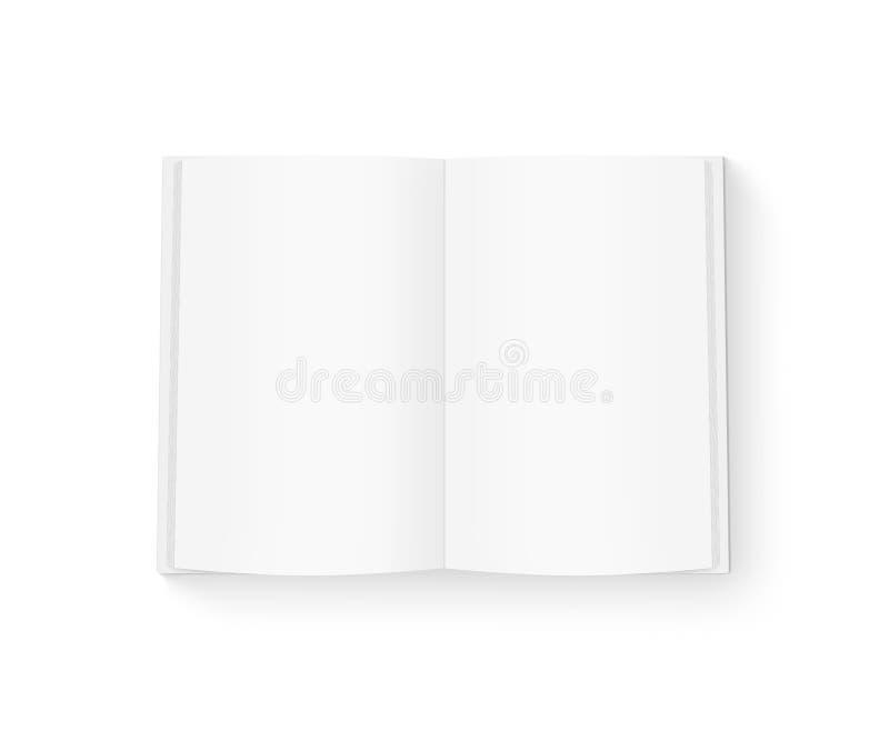 Abra la mofa en blanco del libro para arriba aislada en blanco foto de archivo