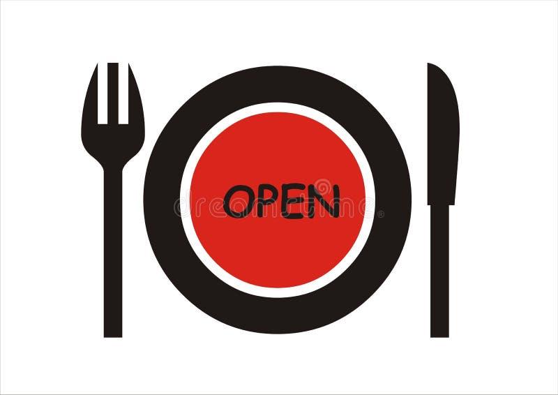 Abra la muestra del restaurante ilustración del vector