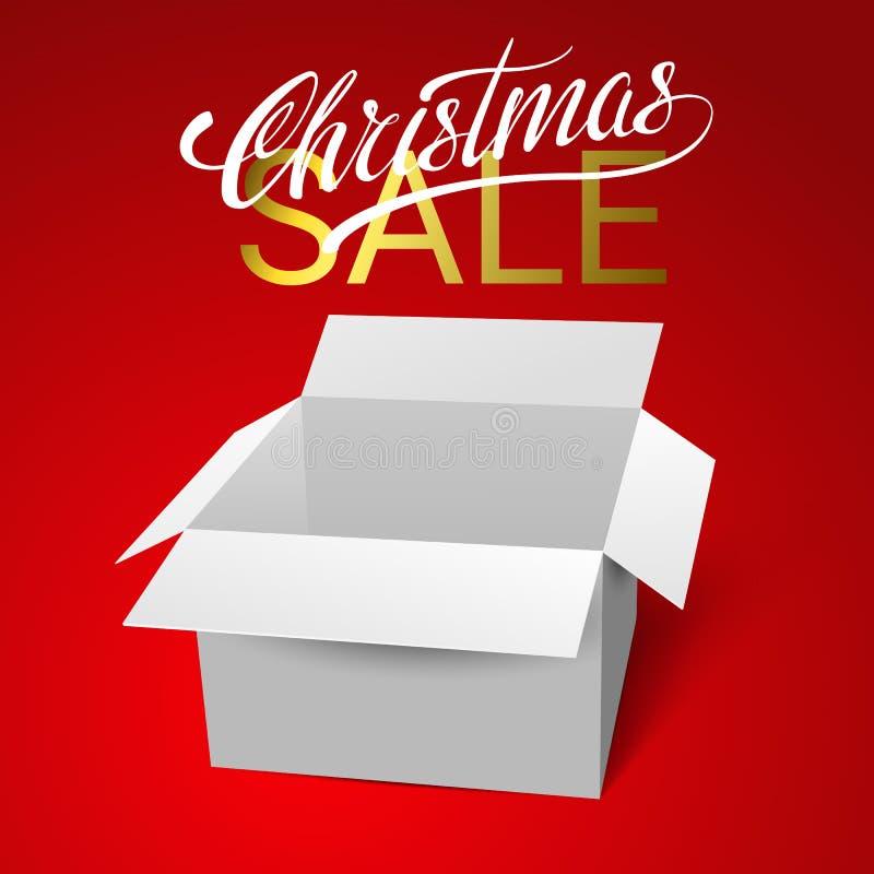 Abra la plantilla del vector de la caja de regalo aislada en fondo rojo Venta de la Navidad stock de ilustración