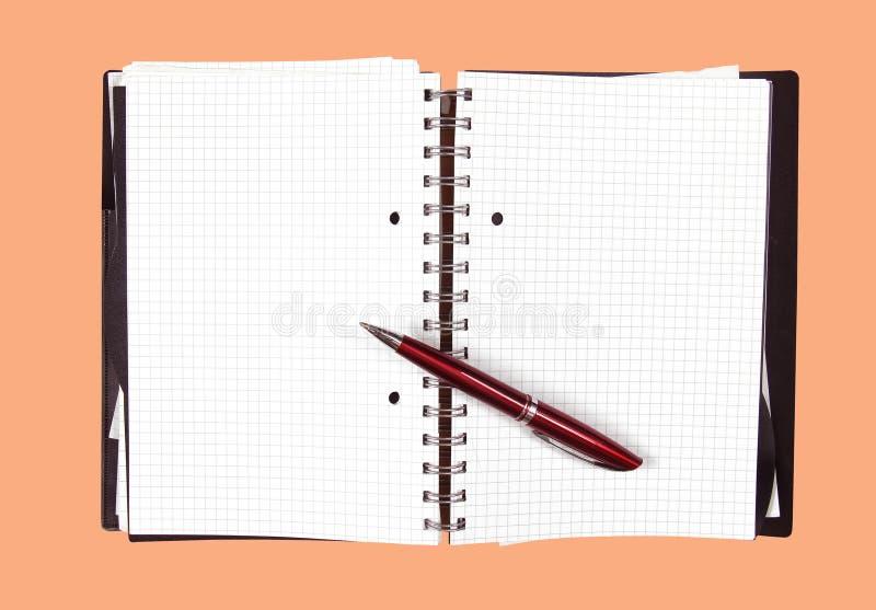 Abra la pluma del cuaderno fotos de archivo libres de regalías