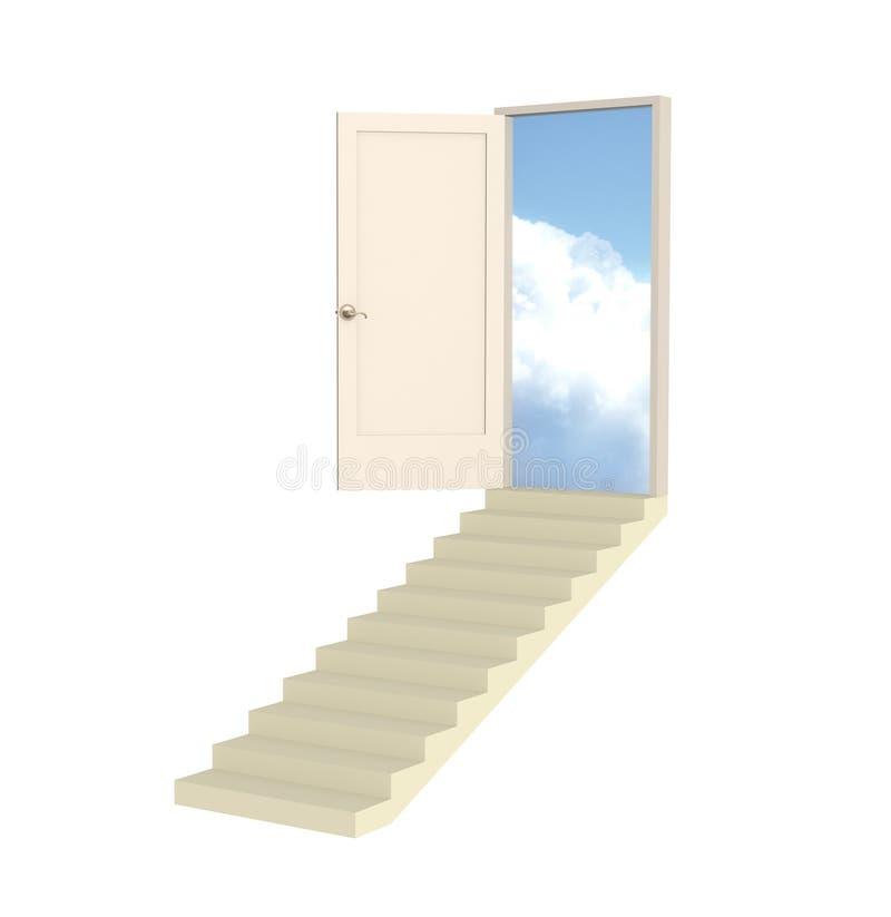 Abra la puerta 3d que conduce en paraíso stock de ilustración