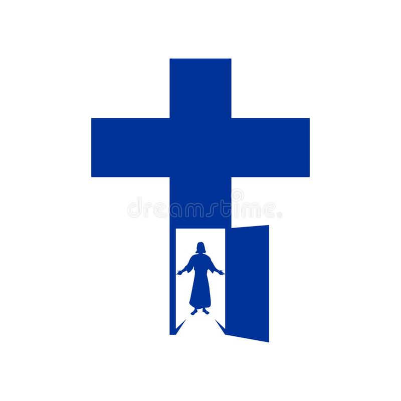 Abra la puerta en la cruz, Jesús está esperando una reunión ilustración del vector