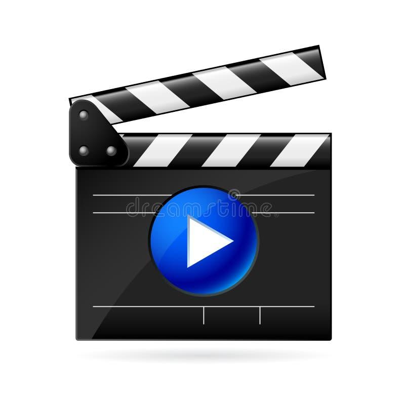 Abra la tablilla de la película en el fondo blanco ilustración del vector