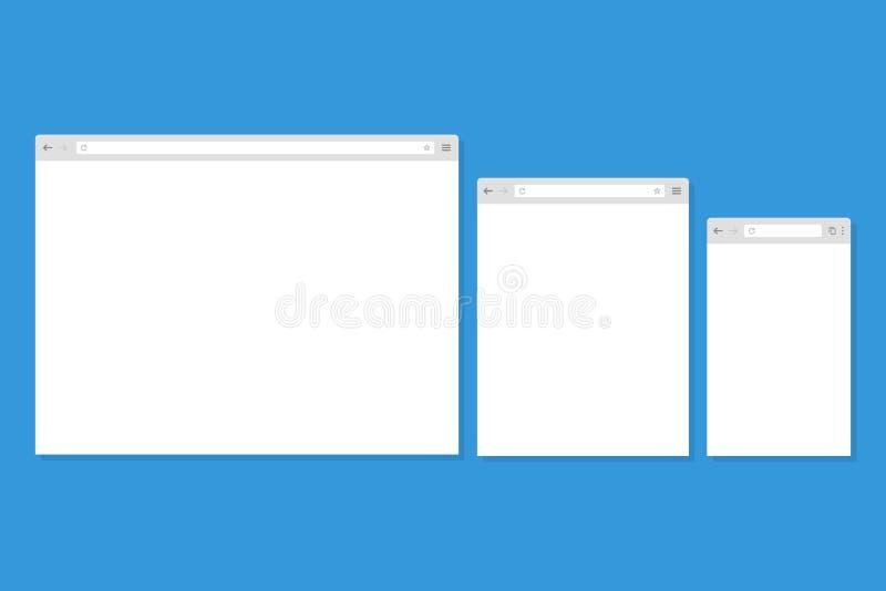 Abra la ventana de navegador de Internet en un estilo plano ilustración del vector