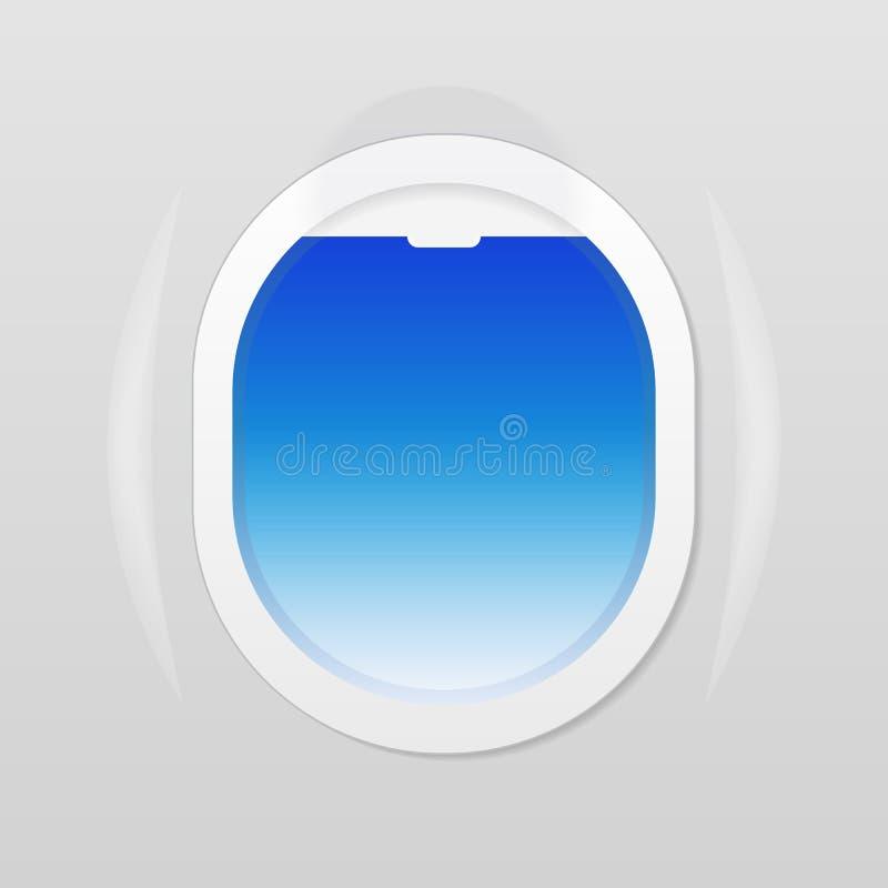 Abra la ventana del aeroplano donde una puede ver el cielo azul stock de ilustración