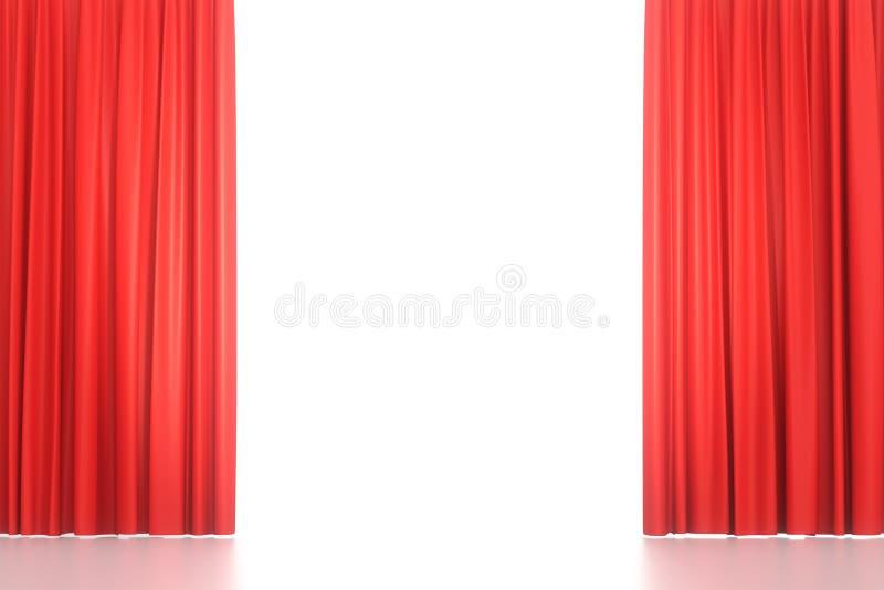 Abra las cortinas rojas de la etapa fotos de archivo