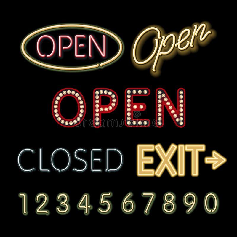 Abra las figuras cerradas señal de neón vector de la salida libre illustration