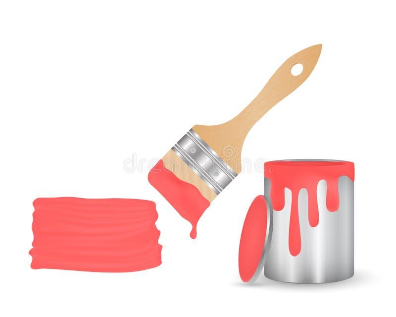 Abra las latas para la pintura, un cepillo con la pintura del goteo y un rojo de la mancha stock de ilustración