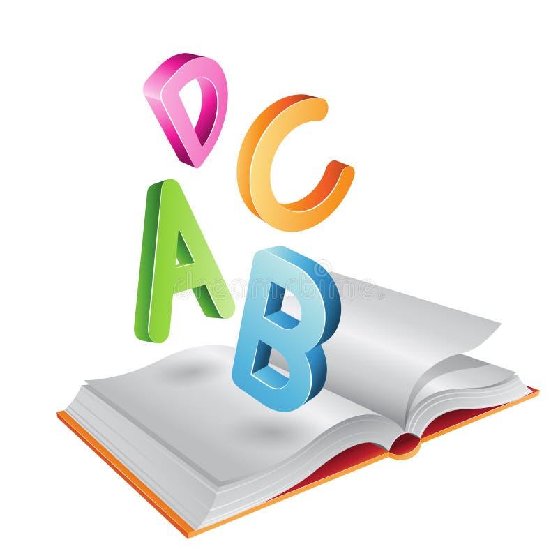Abra las letras del libro y del vuelo stock de ilustración